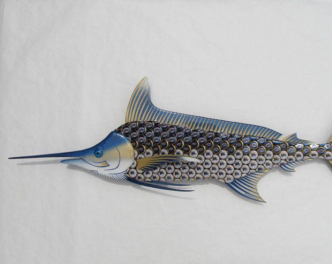 Arte de la pared de peces - Marlin azul con Miller Lite Bottlecap arte del metal