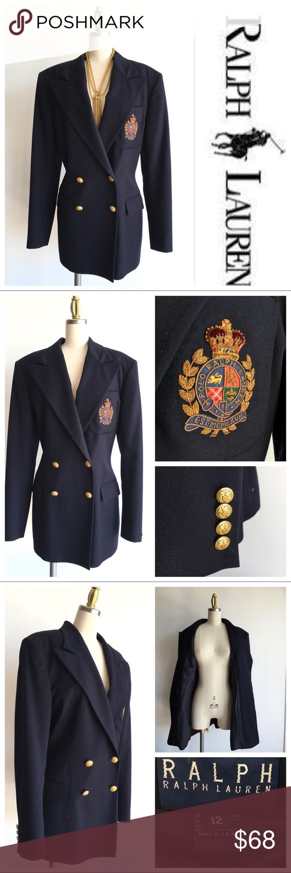 New Listing! Ralph Lauren Navy Crest Blazer Classic Ralph Lauren Navy Blue Wool Double Breasted  Signature Emblem Blazer. Gold signature buttons. Fully Lined. A great quality  classic to add to your wardrobe! Measurements available upon request. Bundle & Save $. Ask me for a custom bundle quote. Ralph Lauren Jackets & Coats Blazers