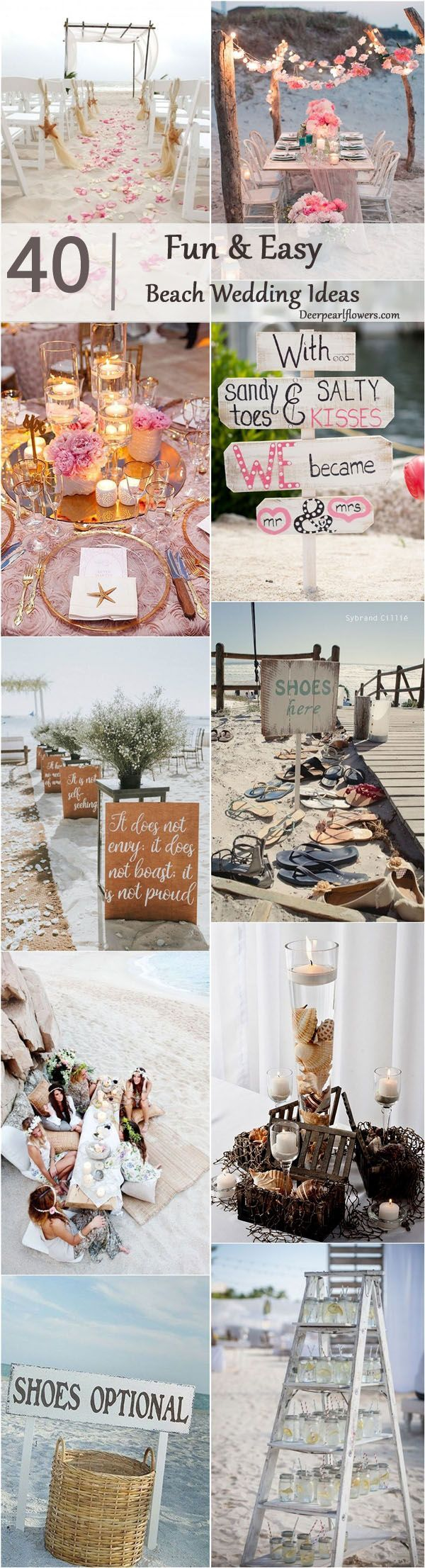Beach wedding theme ideas / http://www.deerpearlflowers.com/fun-and-easy-beach-wedding-ideas/2/