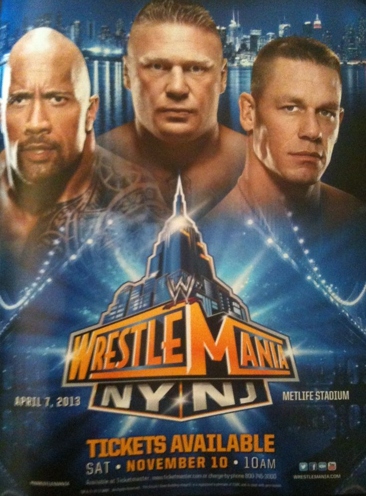 WWE WrestleMania 29's poster features The Rock, Brock Lesnar and John Cena: October 11, 2012 I thought the guy in the middle quit the company.