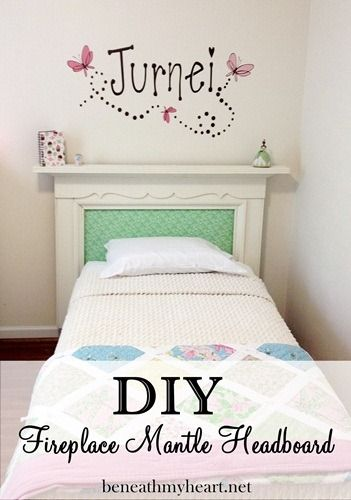 fireplace mantle headboard for a little girl's room... so sweet! By Beneath My Heart