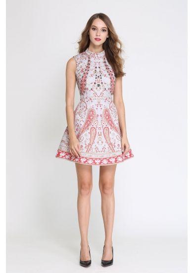 Comino Couture High neck printed mini dress - Harvey Nichols
