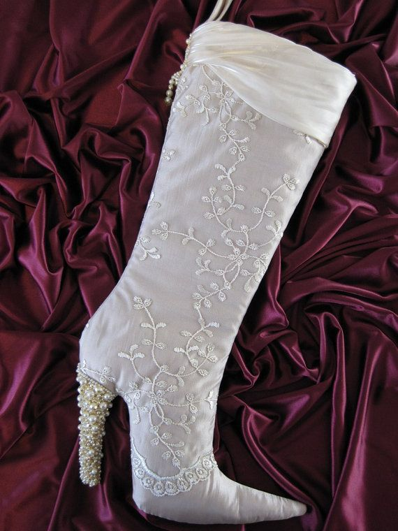 High Heel Christmas Stocking in Champagne Lace Beads by arkathwyn
