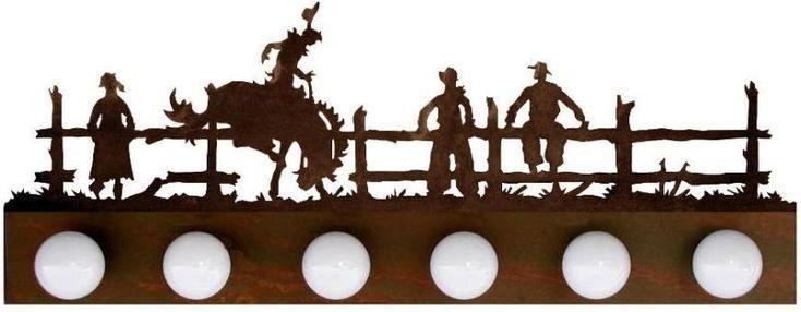 Bronc Rider Western Scene on 4 or 6 bulb Vanity Light Bar