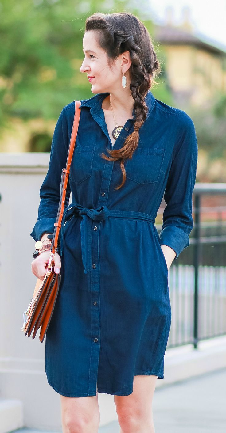Cute casual tailgating outfit and easy side braid hairstyle   Twisted side braid hair tutorial   Target denim shirt dress with cognac booties, a Chleo Faye lookalike bag, and monogrammed jewelry   Fall Hairstyle to Try: Simple Twisted Side Braid from Hair Cuttery by southern blogger Stephanie Ziajka from Diary of a Debutante
