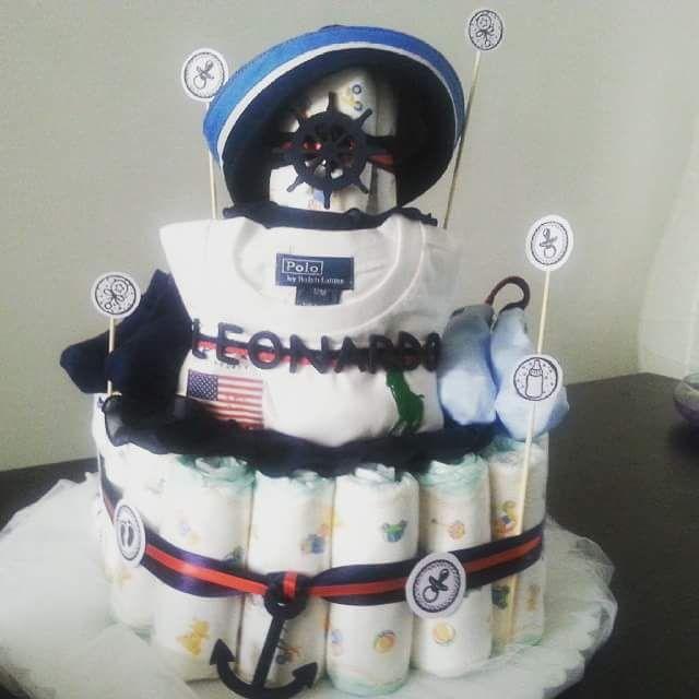torta Genova Italia stile nautico tema navale bimbo maschio cappellino da marinaio e corda