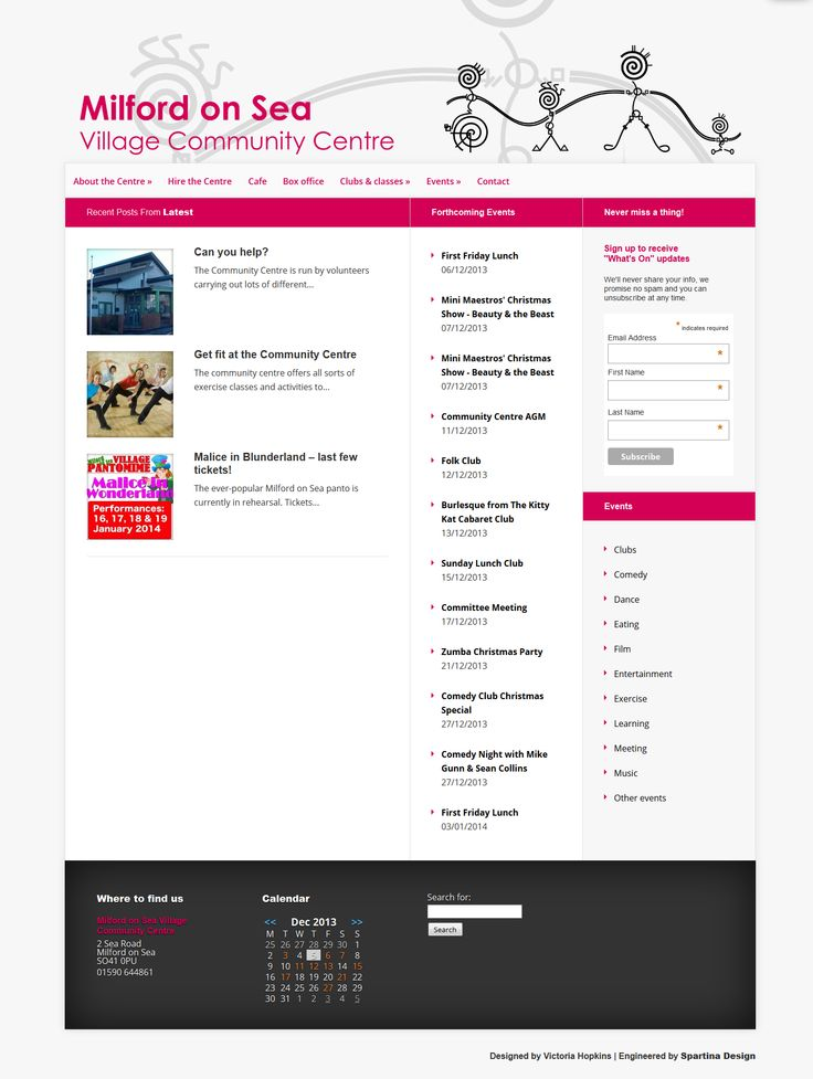 Commissioned by vibrant local community centre - pro-bono work for the local community incorporating bookings and a simple CMS for administration of events