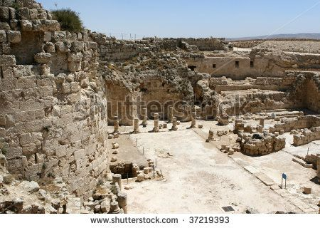 *ISRAEL~HERODIAN NATIONAL PARK: Ancient ruins at the mountain palace fortress. This was the summer palace of Herod the Great, Judean King from 37 - 4 B.C.E.