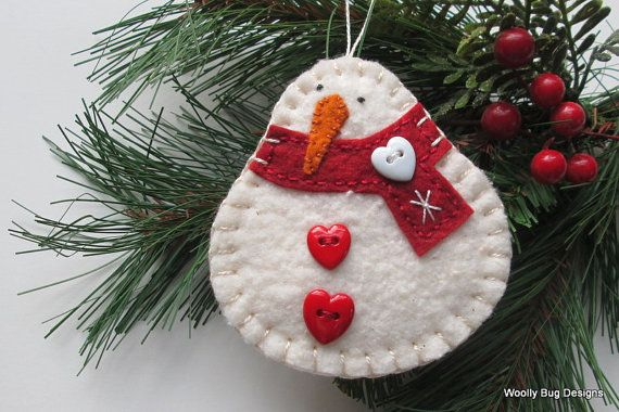 Cotton Batting Snowman, Christmas Ornament, Red Wool Felt Scarf, Red Heart Buttons, White Snowflake, White Heart Button, All Hand Stitched