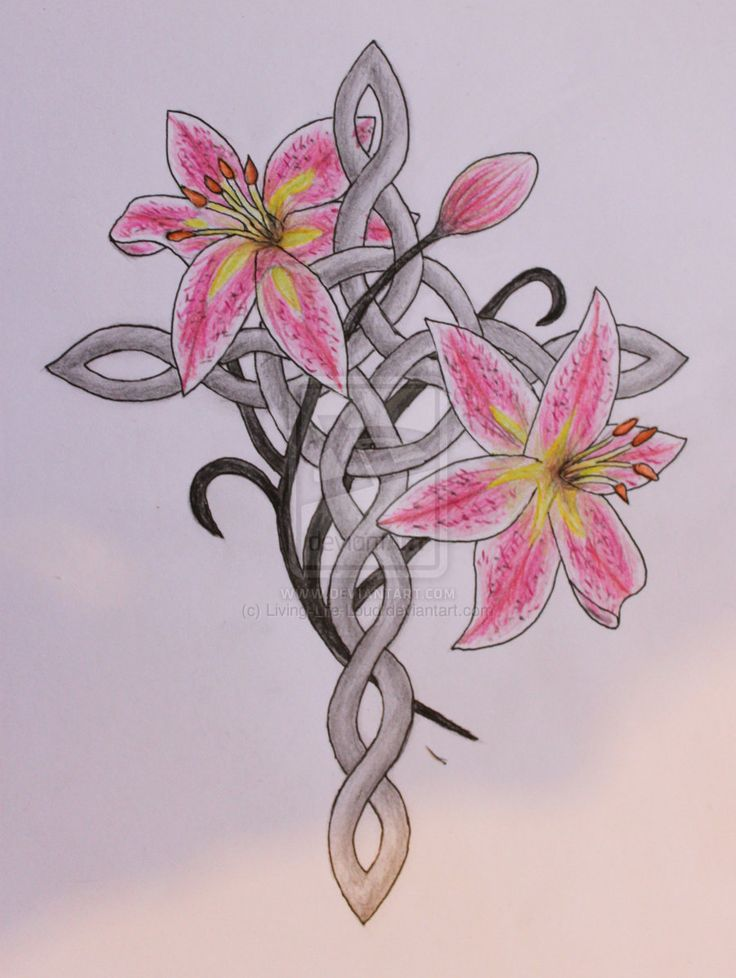 Celtic cross and stargazer lilies tattoo design by ~Living-Life-Loud on deviantART