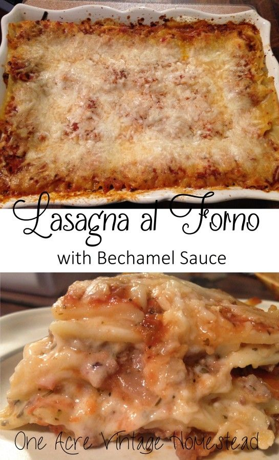 Homemade lasagna made with pomodorro sauce and béchamel sauce
