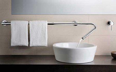 Sink. Tap. Towel bar.