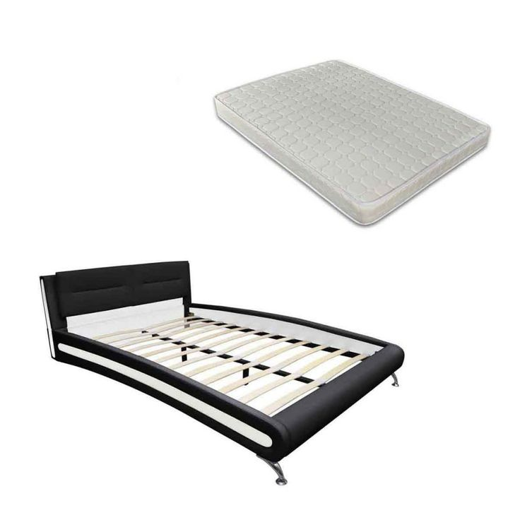 Imitatielederen platform-bed inc. matras 180 x 200 cm zwart