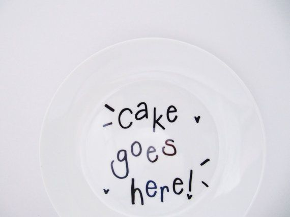 Cake Goes Here Funny Humorous Hand-Decorated by LilyLovesShopping