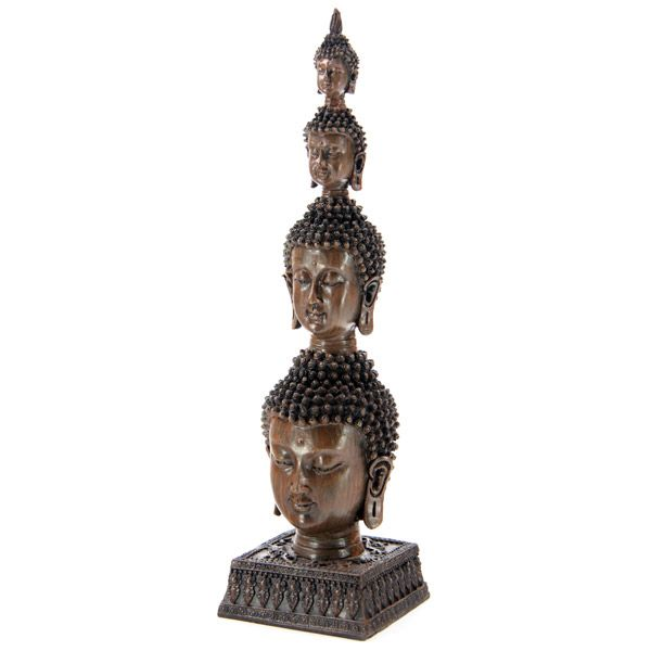4 Head Thai Buddha Column Statue from Absolute Angels Each Thai Buddha Column is made from resin with 4 decreasing sized Buddha heads mounted on top of each other with the bottom head mounted on a square