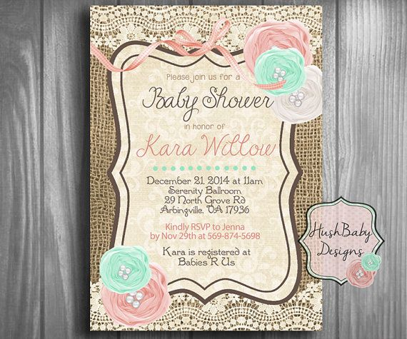 Girly Rustic Chic Bedroom: Shabby Chic Rustic Burlap Lace Baby Shower Invitation