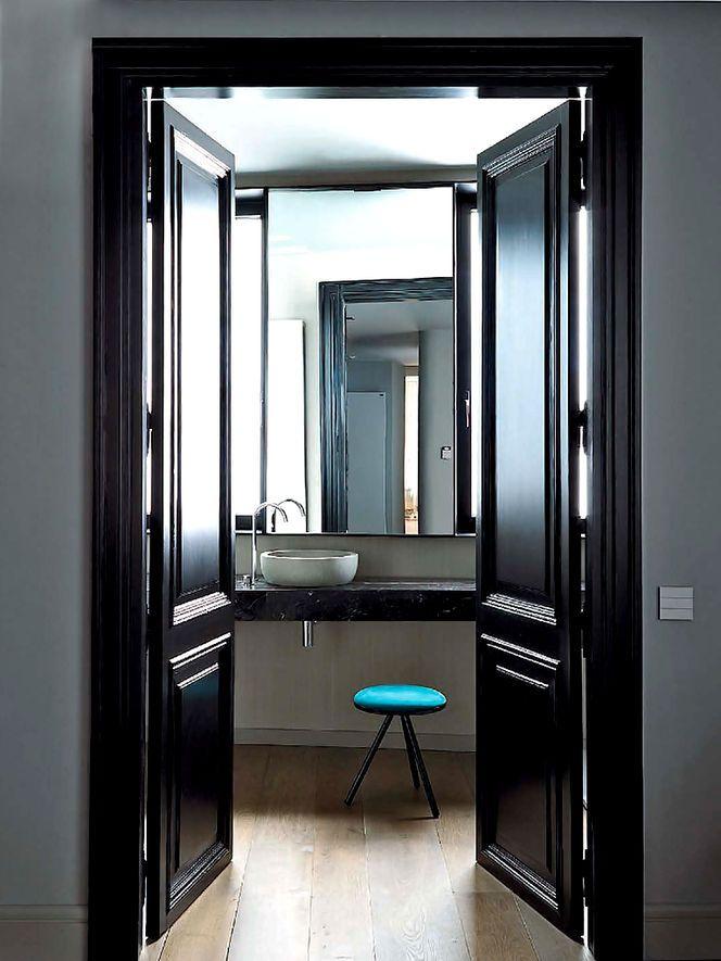 Lacquer Paint Door : Black lacquer door neutral front doors