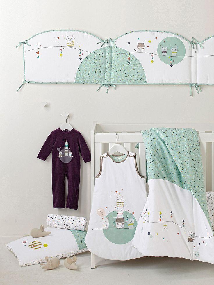 tour de lit b b imprim th me envole moi b b. Black Bedroom Furniture Sets. Home Design Ideas