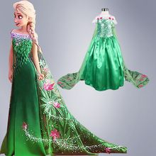 Fancy 2016 Infant Girls Costume Cosplay Elsa Princess Christmas Party Appliques Luxury Lace Tail Green Dress For Kid Girs Outfit(China (Mainland))