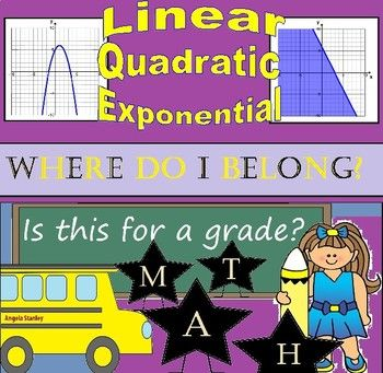 12 linear, quadratic, and exponential functions represented graphically, tabularly, and algebraically for students to place into the correct function family. Students will cut out each and place into the correct category and then determine which functions fit into 10 descriptions.