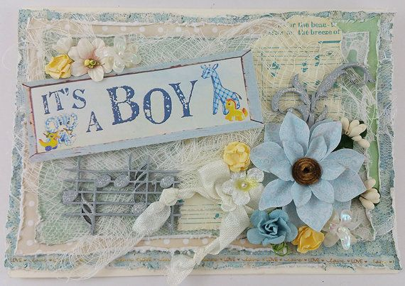 Baby Boy Birth Announcement Card by SillySalCreates on Etsy