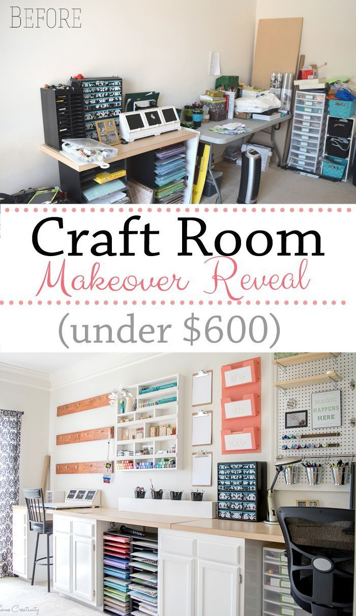 Craft Room Makeover Reveal! So many DIY storage options on the wall and everything in this room was either built or painted.