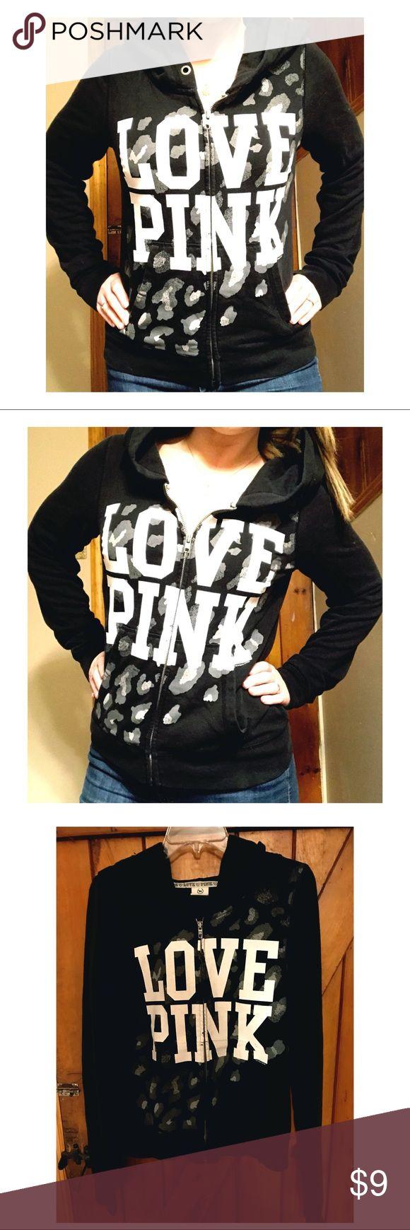 VS PINK zip up hoodie Victoria's Secret PINK, black zip up hoodie with pockets. No rips/tears/holes. PINK Victoria's Secret Tops Sweatshirts & Hoodies