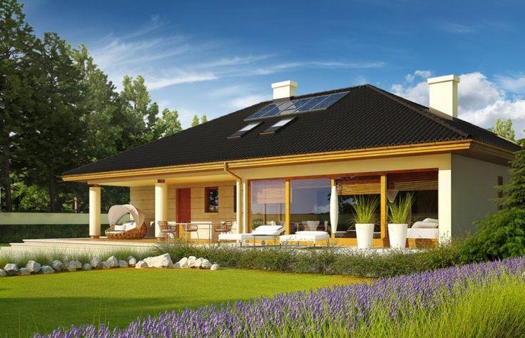 Alan IV G2 to efektowne połączenie tradycji i ultranowoczesności. Przemyślany układ funkcjonalny z łatwością dopasuje się do rytmu życia rodziny. Ciekawa bryła budynku, szykownie komponuje się z elewacją i atrakcyjnymi kolumnami, które podkreślają elegancki styl domu.