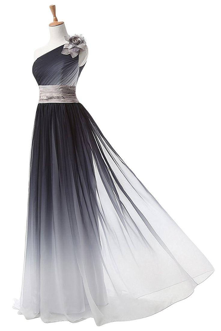 TOSKANA BRAUT Ein-Schulter Glamour Abendkleider Lang Farbeverlauf Chiffon Party Fest Ballkleider-36-Mehrfarbig