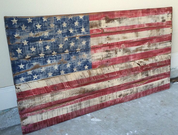 BEST SELLER! American Flag in 2 sizes made with Pallet wood. Distressed and made to look rustic. Patriotic Flag. Home Decor. Rustic by ginsden0911 on Etsy https://www.etsy.com/listing/248068481/best-seller-american-flag-in-2-sizes