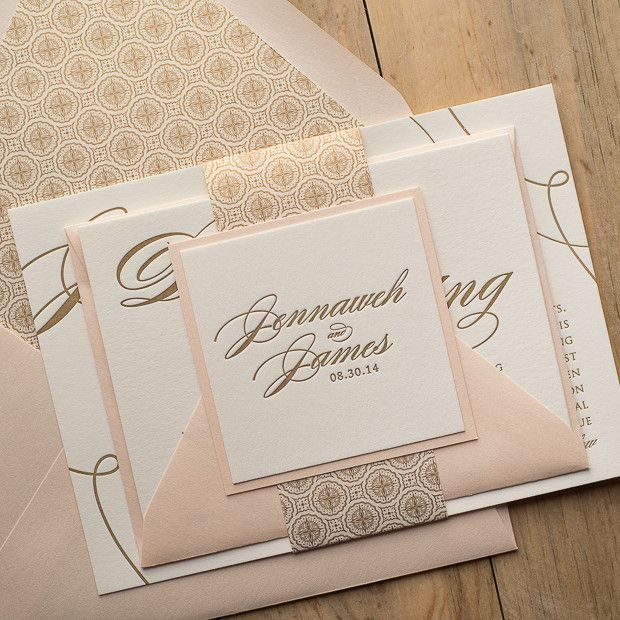 LAUREN Suite Art Deco Package, blush and gold, great gatsby, letterpress wedding invitations, modern art deco, ON SALE FOR BLACK FRIDAY.