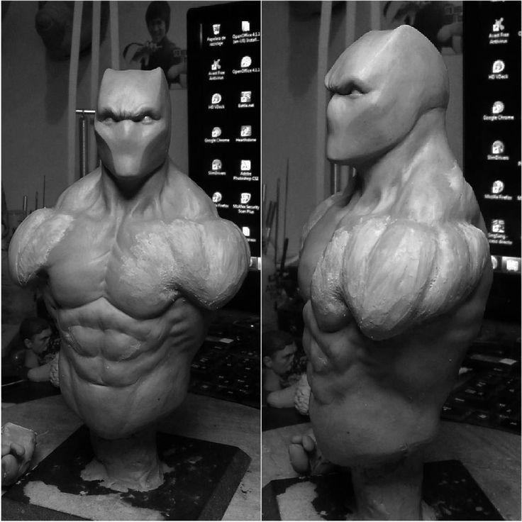 Black Panther bust. Fixing the anatomy again, it never ends!!!! #Cheungkinmen #sculpt #clay #claywax #sculpture #artcollective #artnerd #custom #collecting #bust #marvel #comics #sculpting #marvelblackpanther  #marvelmovies #blackpanther #tchalla #wakanda #costarica #puravida #cartago #madeincostarica