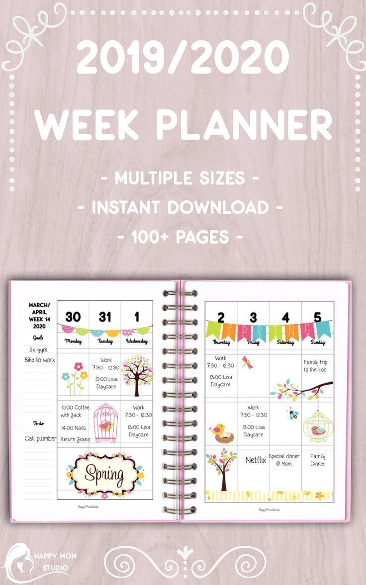 2020 Student Weekly Agenda 2019 Printable Planner Week