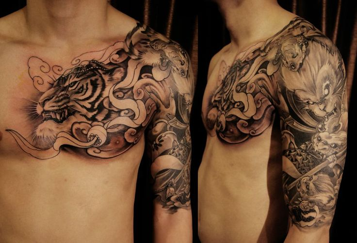 Japanese style tiger tattoo japan pinterest for Japanese style chest tattoos