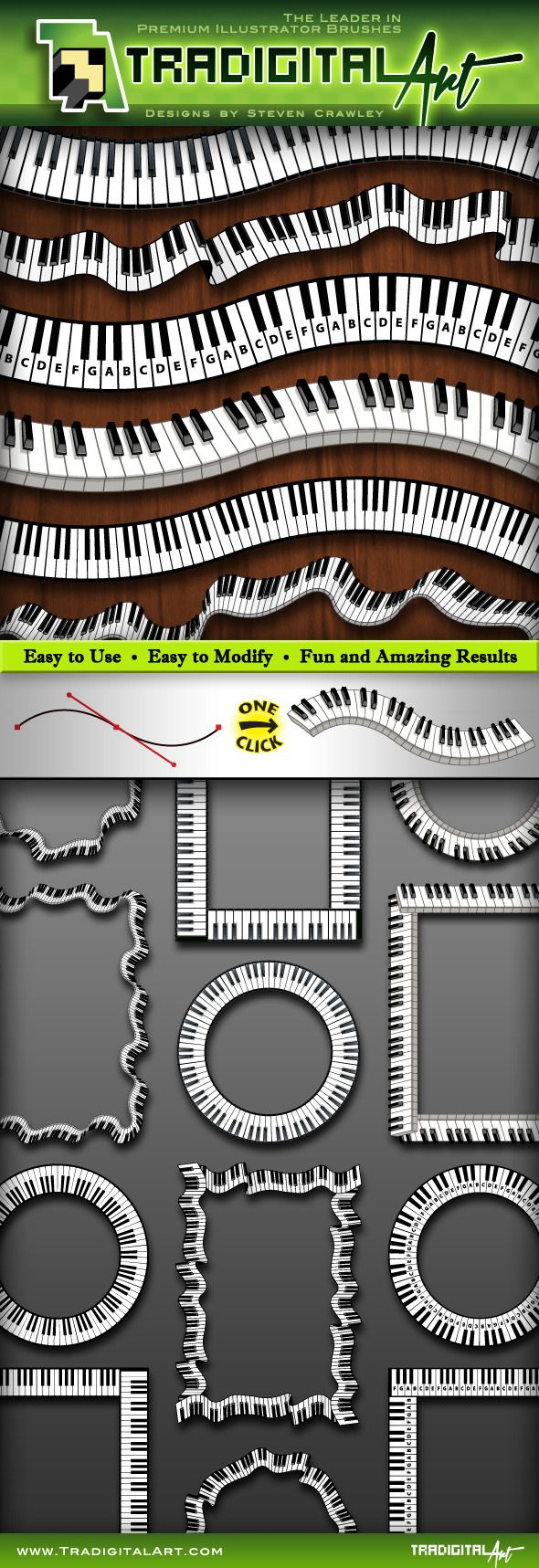 Piano Keys Pattern Brush Set   by TradigitalArt Get Keyed Up and Ready to Go! This set of Piano Keys聽Brushes includes 6聽unique variations: Top view(simple, rendered, labeled), W