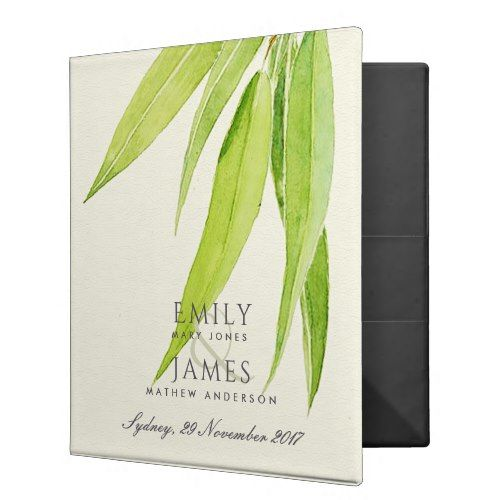 EUCALYPTUS LEAVES WATERCOLOUR FOLIAGE WEDDING BINDER - romantic wedding gifts wedding anniversary marriage party