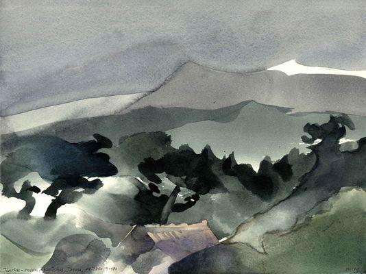 Toni Onley, Jigoku-onsen, Kyushu, Japan, October 3 1981, Watercolour,  11 3/4 x 15 1/2