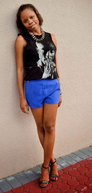 Tupac shirt + Style Mafia blue shorts + Street Style @Forever 21