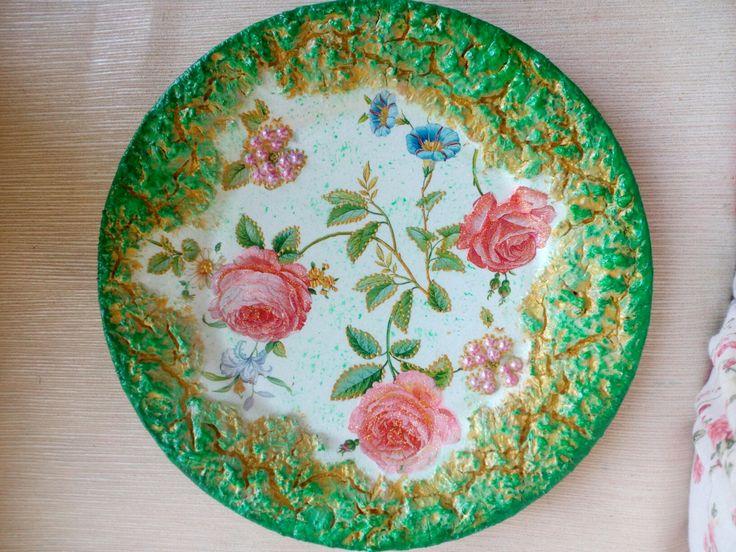 Декоративная тарелочка,,Розовые розы,,