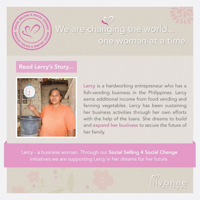 We are changing the world... one woman at a time.  We believe that when women are empowered, so too are families; communities; the world. When you partner with Lily Anne Designs® you are empowering another woman in a developing country.  Read Lercy's story...  ‪#‎LilyAnneDesigns‬ ‪#‎SocialSelling‬ ‪#‎ChangingTheWorld‬