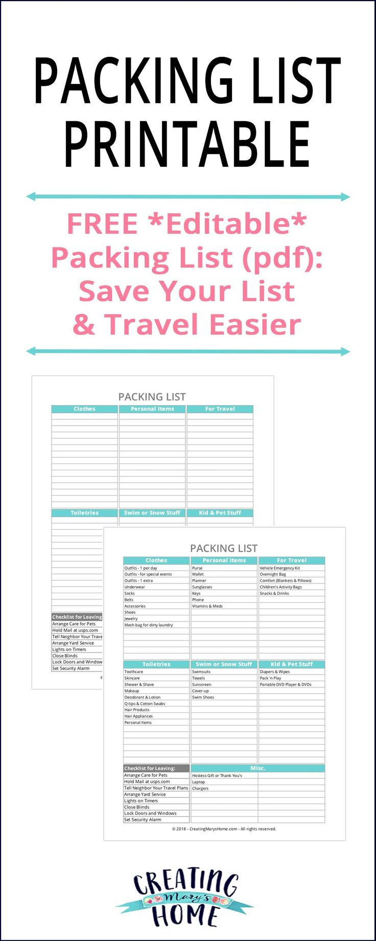 Packing List Printable *Editable PDF!* - creatingmaryshome.com