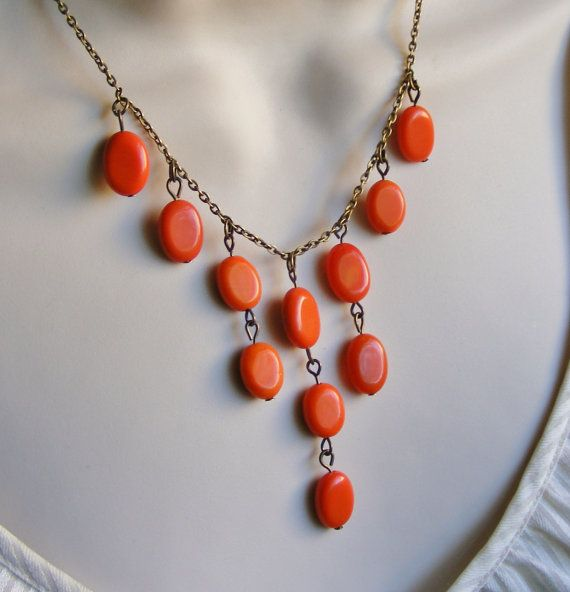 Cascading Orange Beaded Bib Statement by lakeshorecreations4u, $32.00