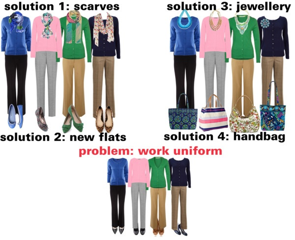 """""""how to liven up your work uniform"""" by dana-forlano on Polyvore"""