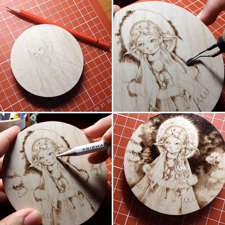 Pyrography on birch plywood, 90x90mm