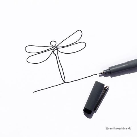 #Simplicity 💕 Love trying new things. Today I drew a #dragonfly using only one line 😊 #mystaedtler