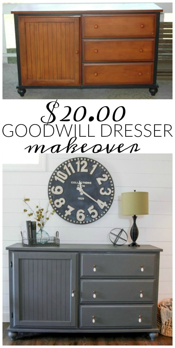 Before and After- A $20.00 Goodwill Dresser Makeover