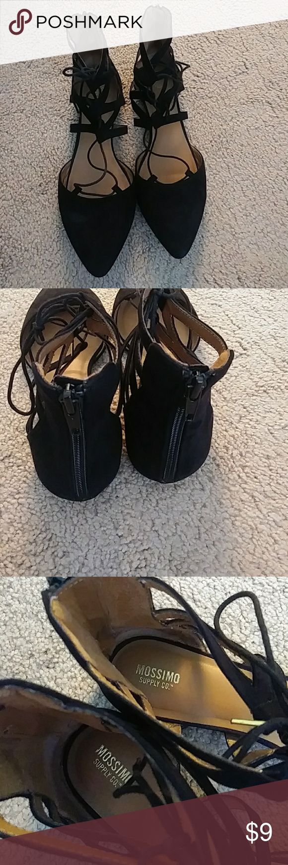 Lace up ballerina shoes Flats Black flats lace up ballerina shoes in good condition size 11 Shoes Flats & Loafers