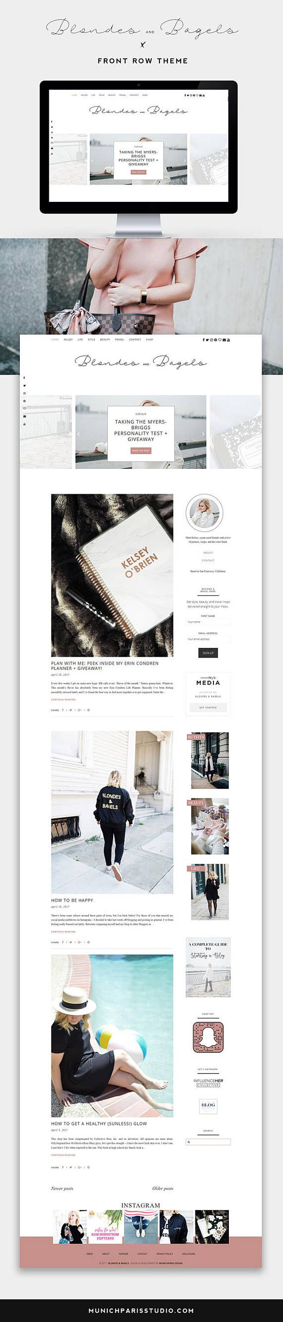 WordPress Theme for Fashion Bloggers / Front Row Stylish and Clean Theme for Lifestyle and Fashion Bloggers / Great Features like Integrated Shop Widget / Instagram Feed / Social Media Widget, Styled About Widget and many more / Shop more Themes at etsy.com/shop/munichparisstudio