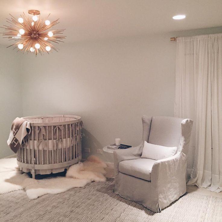 neutral nursey | gold tone modern ceiling semi flush mount
