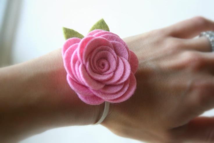 Felt Flower Corsage Flower Bracelet